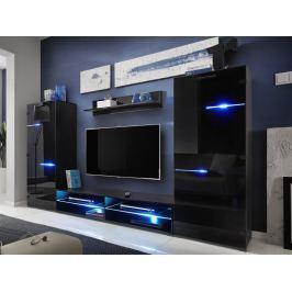 MODERN, obývací stěna, černá/černý lesk