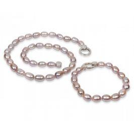 JwL Luxury Pearls Souprava náhrdelníku a náramku z pravých růžových perel JL0137 stříbro 925/1000