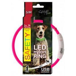 Dog Fantasy Obojek LED nylonový růžový vel. 45