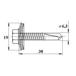 LanitPlast Šroub do železa TEX 6,3 x 38 mm šestihranná hlava (10 ks)