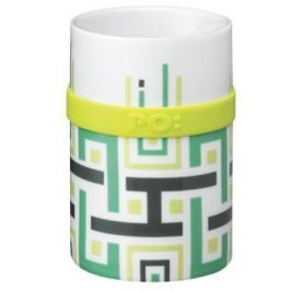 PO Ring Mug porcelánový hrnek Green geometric 200 ml