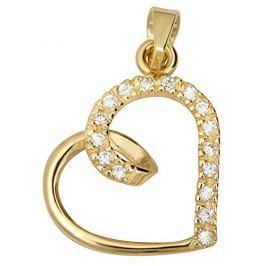 Brilio Zlatý přívěsek s krystaly Srdce 249 001 00451 - 0,85 g zlato žluté 585/1000