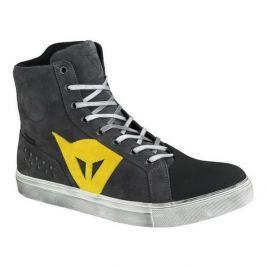 Dainese kotníkové boty STREET BIKER D-WP vel.46 antracitová/žlutá, kůže (pár)