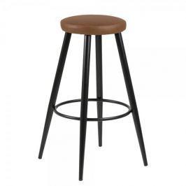 Design Scandinavia Barová židle s kovovou podnoží Heros (SET 2 ks), koňaková