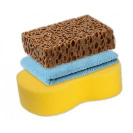 KAJA Sada na mytí auta, 3 ks: 1 x utěrka mikrovlákno, 1 x mycí houba, 1 x mycí houba Premium na odolné nečistoty