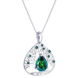 Preciosa Stříbrný náhrdelník se zirkony Green Tree of Life 5220 66 stříbro 925/1000