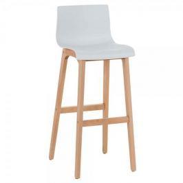 BHM Germany Barová židle s dřevěnou podnoží Luxor, bílá