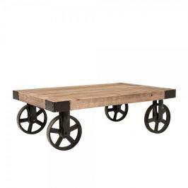 Design Scandinavia Konferenční stolek na kolečkách Bernard, 110 cm, jilm