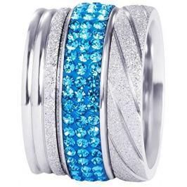 Preciosa Sada tří vrstvených prstenů ve stříbrné a modré barvě 7305 70 (Obvod 53 mm)