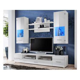 RENO, obývací stěna, bílá/bílý lesk