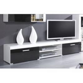 Televizní stolek SAMBA, bílá/černý lesk