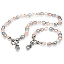 JwL Luxury Pearls Souprava náhrdelníku a náramku z pravých perel JL0263