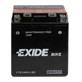 Exide bezúdržbová AGM baterie  ETX14AHL-BS, 12V 12Ah, za sucha nabitá. Náplň součástí balení.