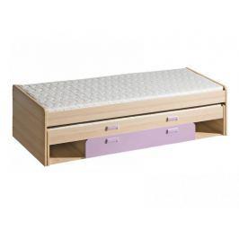LORENTTO, postel L16, jasan/fialová,včetně matrací