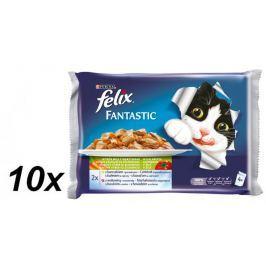 Felix Fantastic výběr z ryb se zeleninou s lososem a cuketou , se pstruhem a zel. fazolkami 10 x(4 x 100g)