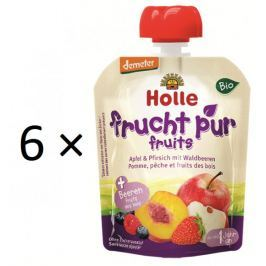 Holle Bio ovocné pyré jablko, broskev, lesní plody - 6 × 90g