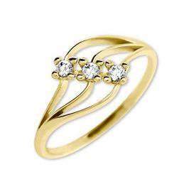 Brilio Dámský prsten s krystaly 229 001 00546 - 1,35 g (Obvod 52 mm) zlato žluté 585/1000