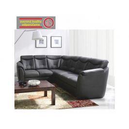 Rozkládací rohová sedací souprava s úložným prostorem, L provedení, ekokůže soft 6 černá, MERLIN