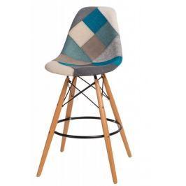 Mørtens Furniture Barová židle s dřevěnou podnoží Desire patchwork, modrá