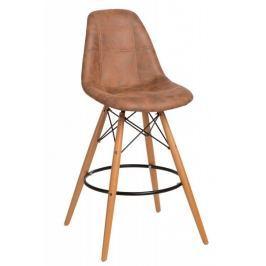 Mørtens Furniture Barová židle s dřevěnou podnoží Desire prošívaná, hnědá