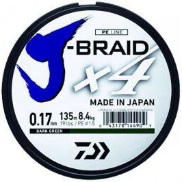 Daiwa Splétaná Šňůra J-Braid 4 Tmavě Zelená 270 m 0,15 mm, 6,9 kg