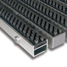 FLOMAT Šedá hliníková čistící kartáčová venkovní vstupní rohož Alu Super - 60 x 90 x 2,7 cm
