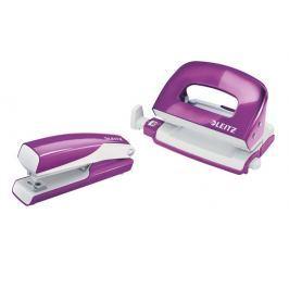 Set mini sešívačky a děrovačky Leitz WOW purpurový