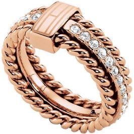 Tommy Hilfiger Nádherný bronzový prsten s krystaly TH2700609 (Obvod 58 mm)