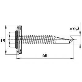 LanitPlast Šroub do železa TEX 6,3 x 60 mm šestihranná hlava (10 ks)