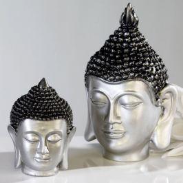 Papillon Soška Buddha hlava, 16 cm, stříbrná/antracit