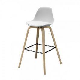 Danish Style Barová židle s dřevěnou podnoží Zaza (SET 2 ks), dřevo/bílá