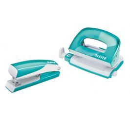 Set mini sešívačky a děrovačky Leitz WOW ledově modrý