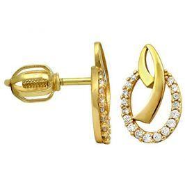 Brilio Zlaté náušnice s čirými krystaly 239 001 00798 - 1,60 g zlato žluté 585/1000
