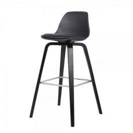 Danish Style Barová židle s dřevěnou podnoží Zaza (SET 2 ks), černá
