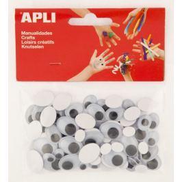 Oči APLI samolepicí oválné černé mix velikostí/100 ks