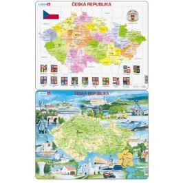LARSEN Puzzle set Mapa - ČESPuzzle set Mapa – Česká republika a Česko atraktivní místa maxi