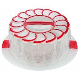 Snips Podnos na dort 28 cm s poklopem a držákem červená