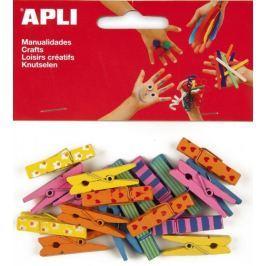 Kolíčky dřevěné APLI barevné velké/20 ks