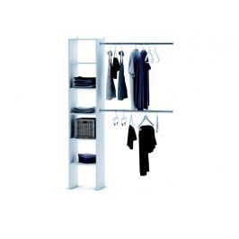 EKONOMIQUE, regál + 2 šatní tyče 100 cm, bílá