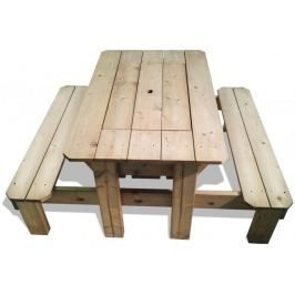 CUBS Impregnovaný piknikový stůl s plastovým boxem