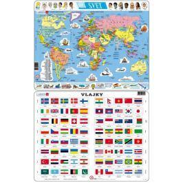 LARSEN Puzzle set Vlajky světa a Mapa světa MAXI