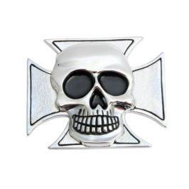 Highway-Hawk samolepící emblém  CROSS&SKULL - lebka v kříži, 75mm