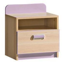 LORENTTO, noční stolek L12, jasan/fialová