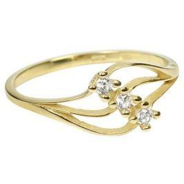 Brilio Dámský prsten s krystaly 229 001 00546 - 1,25 g (Obvod 50 mm) zlato žluté 585/1000
