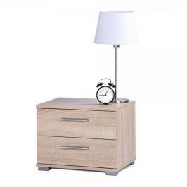 FARELA Noční stolek s 2 zásuvkami Nora, 35 cm, dub