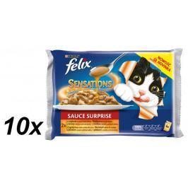 Felix Sensations saice Surprise s krůtou ve slaninové omáčce a jehněčím se zvěřinou 10 x (4 x 100g)