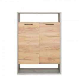 FARELA Regál s dveřmi Domo, 108 cm, beton/dub
