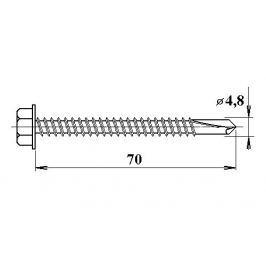 LanitPlast Šroub do železa TEX 4,8 x 70 mm šestihranná hlava