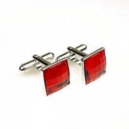 YABLOGLASS Červené stříbrné manžetové knoflíčky se Swarovski® kameny. Rhodiováno. Dárková krabička zdarma.