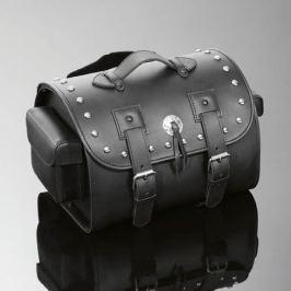 Highway-Hawk cestovní brašna  na opěrku motocyklu - zdobený nýty, TEK kůže, černá